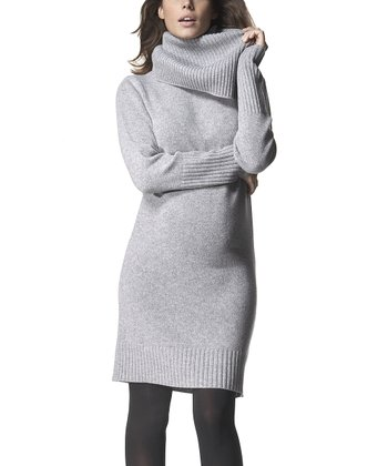 Heather Gray Wool-Blend Maternity Cowl Neck Sweater Dress