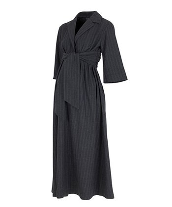 Gray Pinstripe Maternity Dress