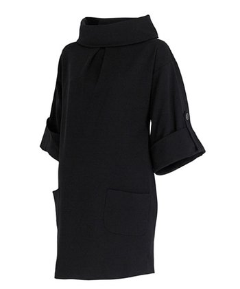 Caviar Black Maternity Cowl Neck Tunic