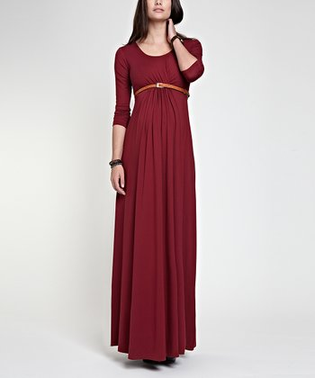 Wine Grace Maternity Maxi Dress