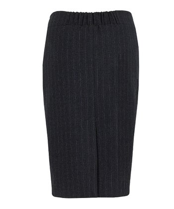Gray Pinstripe Mid-Belly Maternity Pencil Skirt