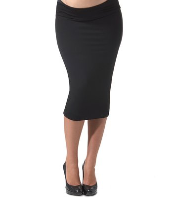 Caviar Black Under-Belly Maternity Pencil Skirt
