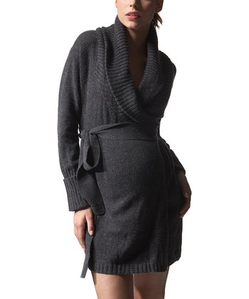 Charcoal Wool Maternity Shawl Collar Cardigan