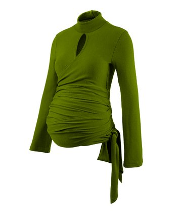 Avocado Maternity Mock Neck Wrap Top