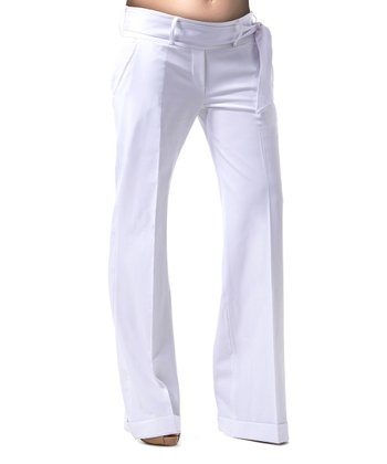 Pure White Garbo Under-Belly Maternity Trouser Pants