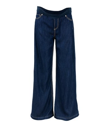 True Blue Mid-Belly Maternity Wide-Leg Jeans