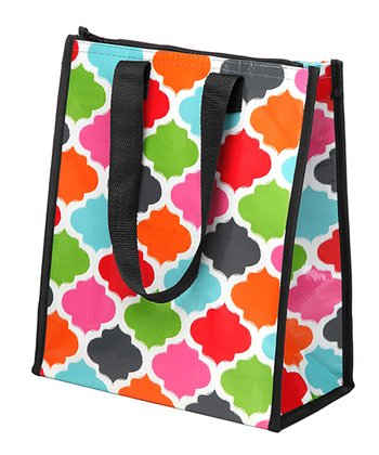 Black, Red & Light Blue Quatrefoil Small Cooler