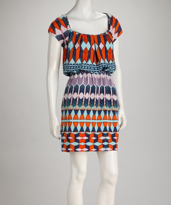 Blue & Orange Abstract Scoop Neck Dress