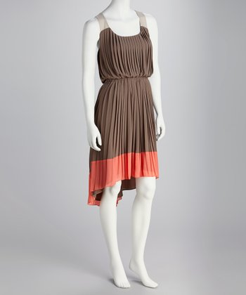 Taupe Color Block Pleated Hi-Low Dress