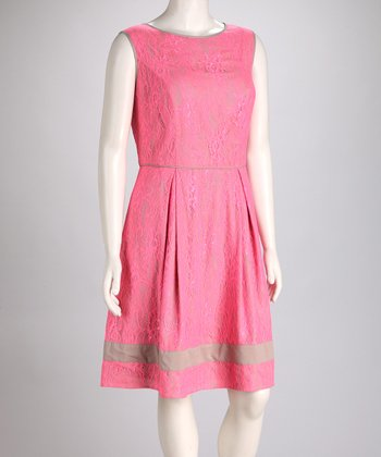 Pink Lace Sleeveless Dress - Plus