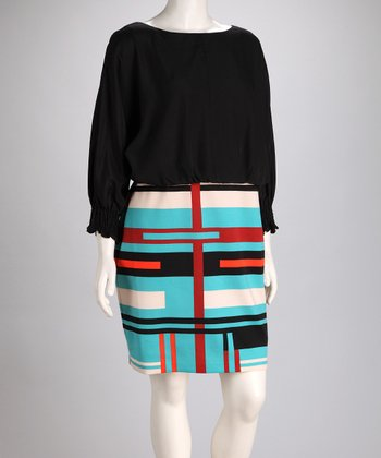 Black & Turquoise Dolman Dress - Plus