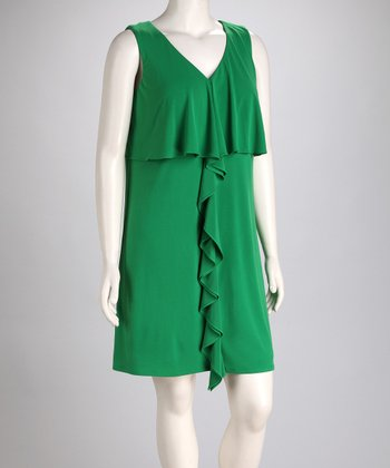 Green Ruffle Sleeveless Dress - Plus
