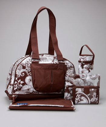 Brown Paisley Chelsea Diaper Bag Set