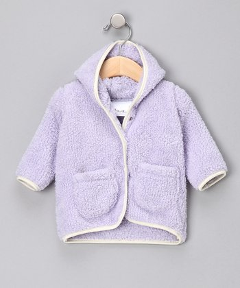 Lavender Hooded Plush Jacket - Infant