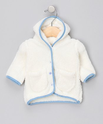Natural & Blue Hooded Plush Jacket - Infant & Toddler