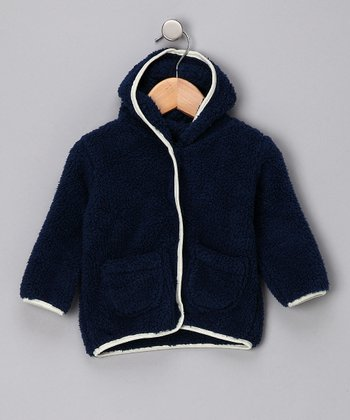 Navy Hooded Plush Jacket - Infant