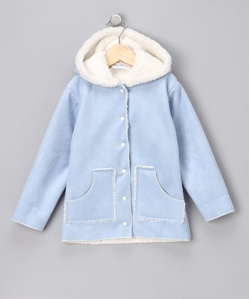 Light Blue Faux Suede Hooded Jacket - Infant