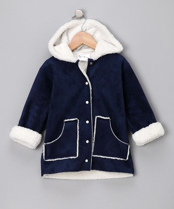 Navy Faux Suede Hooded Jacket - Infant