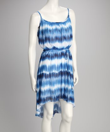 Blue Tie-Dye Hi-Low Dress