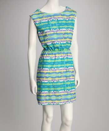 Blue Tie-Dye Sleeveless Dress