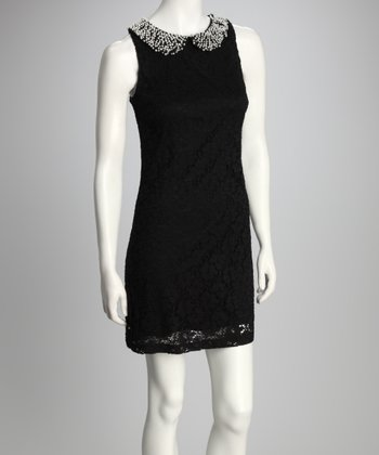 Black Crocheted Sleeveless Dress