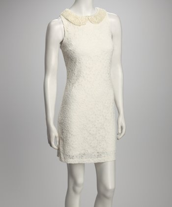 Off-White Crocheted Sleeveless Dress