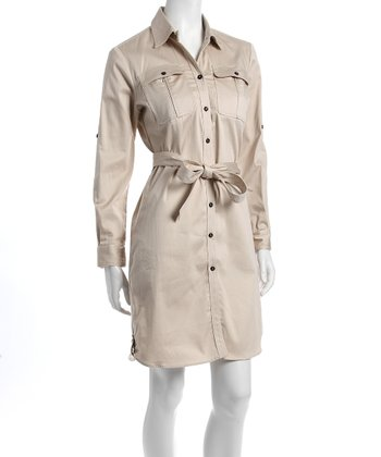 Khaki Audrey Nursing Shirt Dress
