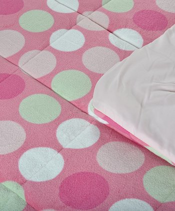Pink Polka Dot Reversible Twin Comforter Set