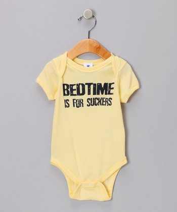 Yellow Bedtime Is For Suckers Bodysuit - Infant