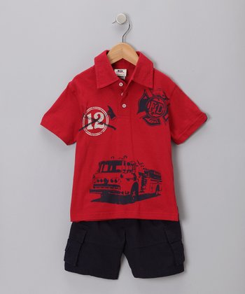 Red Firetruck Polo & Shorts - Toddler & Boys