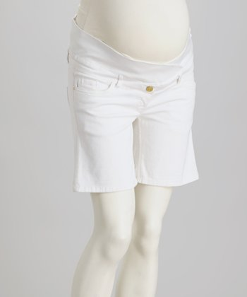 White Under-Belly Maternity Shorts