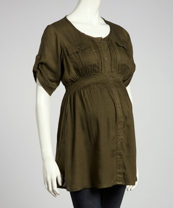 Olive Button-Up Maternity Tunic