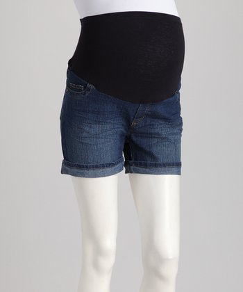 Medium Wash Cuffed Over-Belly Maternity Denim Shorts