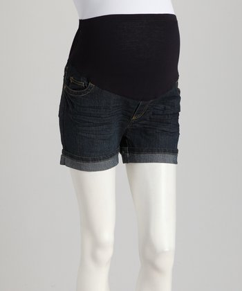 Dark Rinse Cuffed Over-Belly Maternity Denim Shorts