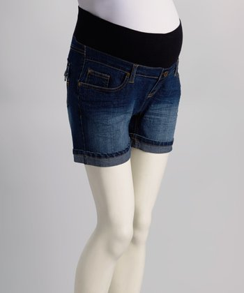 Medium Wash Cuffed Under-Belly Maternity Denim Shorts