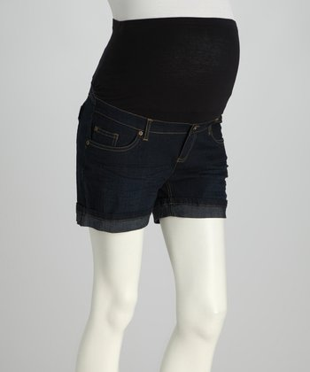 Dark Wash Over-Belly Maternity Shorts