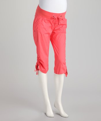 Coral Poplin Under-Belly Maternity Capris - Women