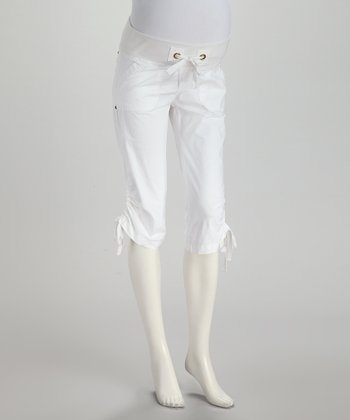 White Poplin Under-Belly Maternity Capri Pants