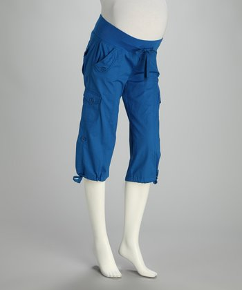 Cobalt Convertible Under-Belly Maternity Capri Pants