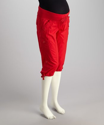 Red Under-Belly Maternity Capri Pants