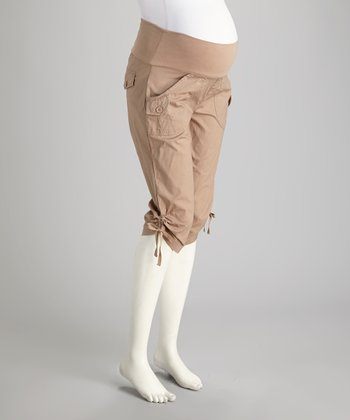 Khaki Cargo Mid-Belly Maternity Capri Pants - Women