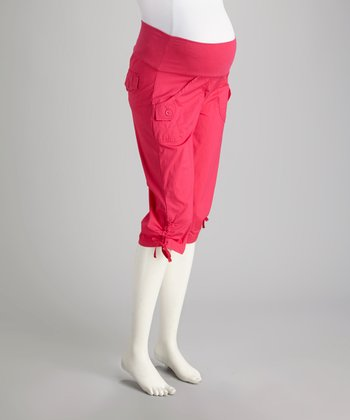 Magenta Cargo Mid-Belly Maternity Capri Pants