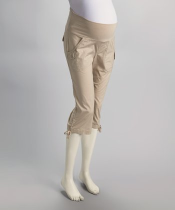 Stone Mid-Belly Maternity Capri Pants