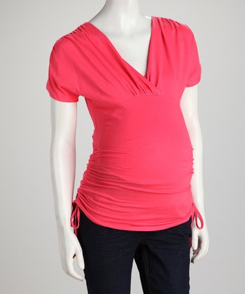 Coral Side-Tie Maternity Surplice Top