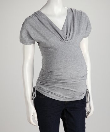 Heather Gray Side-Tie Maternity Surplice Top