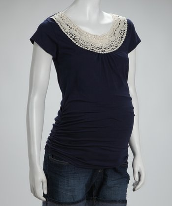Navy Crochet-Neck Maternity Top