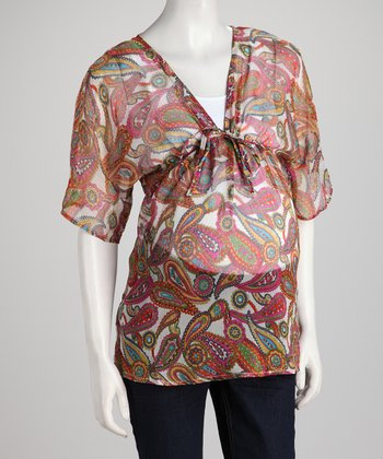 Fuchsia Sheer Paisley Maternity Dolman Top