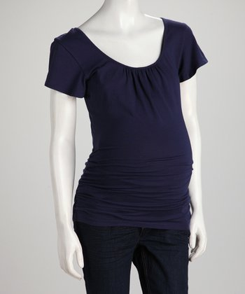 Navy Crisscross-Back Maternity Top