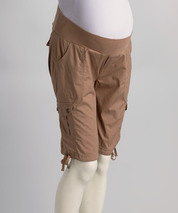 Khaki Under-Belly Maternity Bermuda Shorts