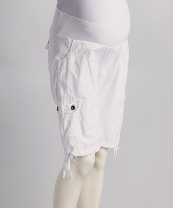White Under-Belly Maternity Bermuda Shorts